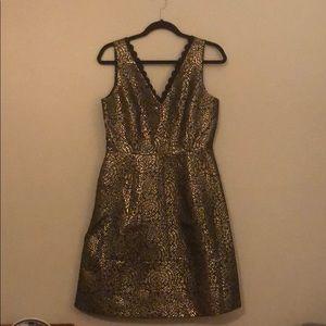 Draper James Gold Black Jacquard Maisy Dress NWT